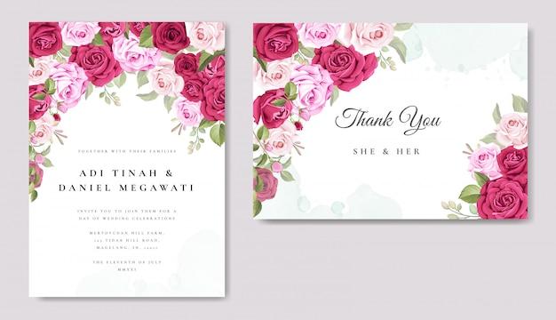 Invitación de boda hermosa con plantilla de fondo floral y hojas