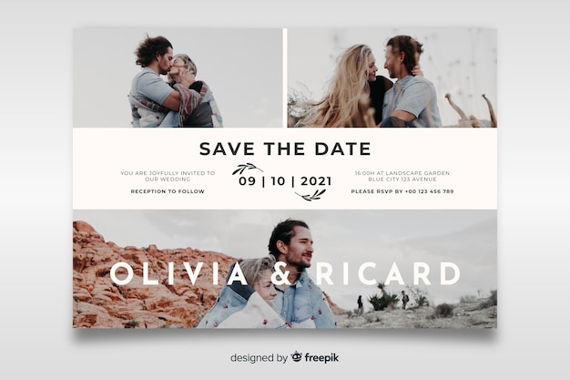 Invitación de boda hermosa con plantilla de foto