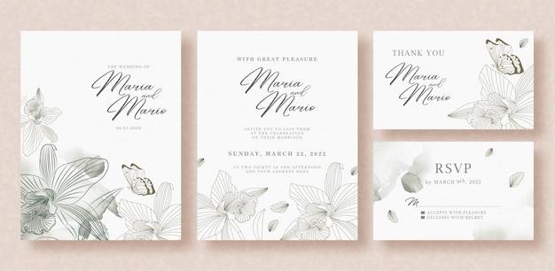 Invitación de boda hermosa con plantilla gris floral y mariposas