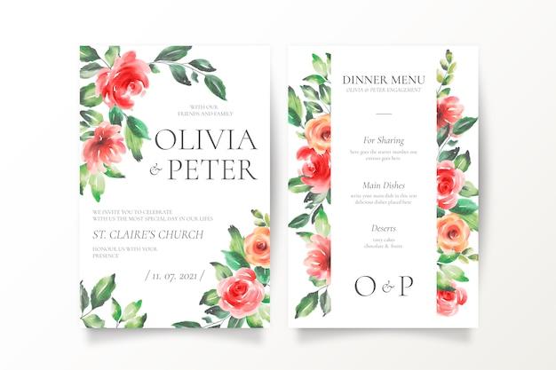 Invitación de boda hermosa y plantilla de menú