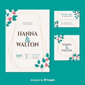 Invitación de boda hermosa sobre fondo turquesa