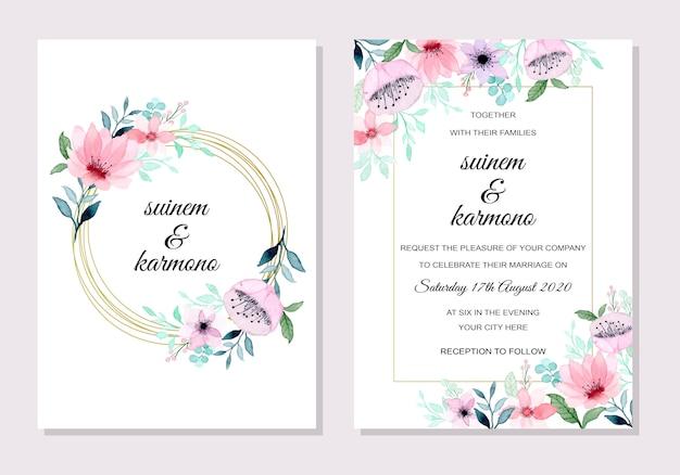 Invitación de boda hermosa suave con acuarela floral