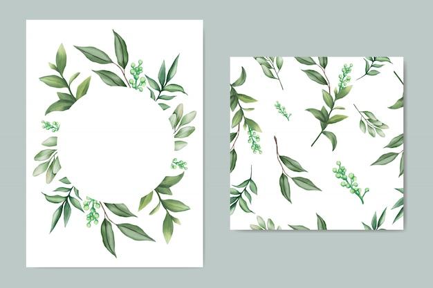 Invitación de boda hermosa verde con hojas y paquete transparente