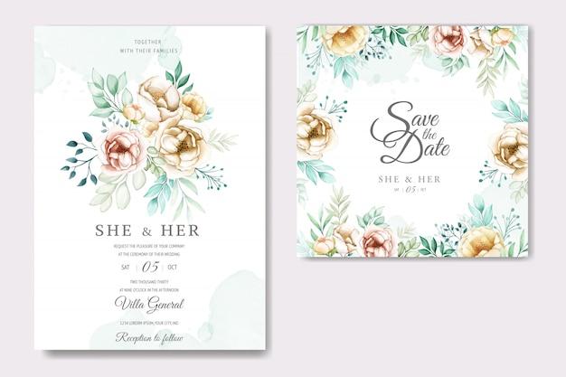 Invitación de boda con hermosas flores de acuarela