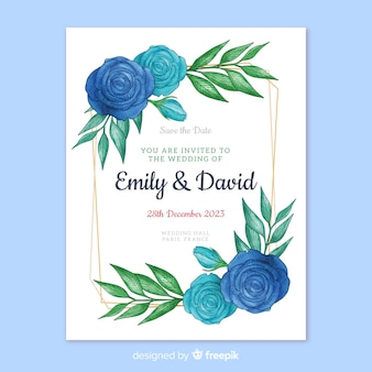 Invitación de boda de hermosas flores azules