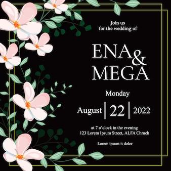 Invitación de boda con hermosas flores blancas hojas