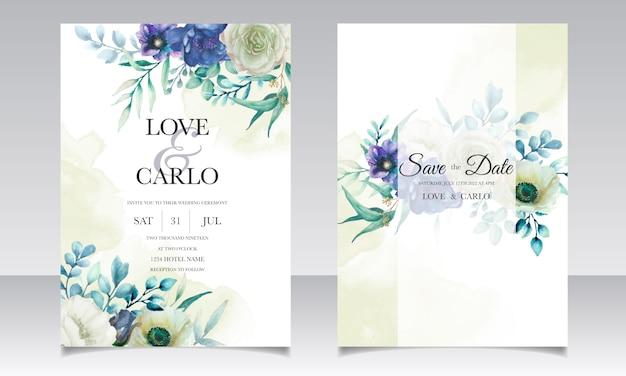 Invitación de boda con hermosas flores y hojas de acuarela