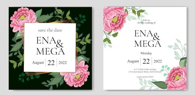 Invitación de boda con hermosas flores hojas