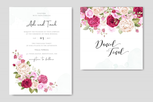 Invitación de boda con hermosas flores y hojas