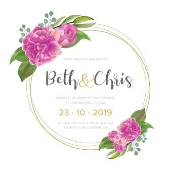 Invitación de boda con hermosas peonías acuarelas