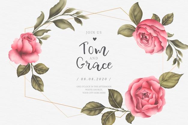 Invitación de boda con hermosas peonías rosas y hojas