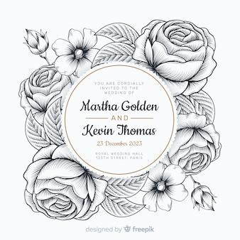 Invitación de boda con hermosas rosas dibujadas a mano