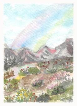 Invitación de boda con hermoso arco iris pintado a mano en acuarela de colinas