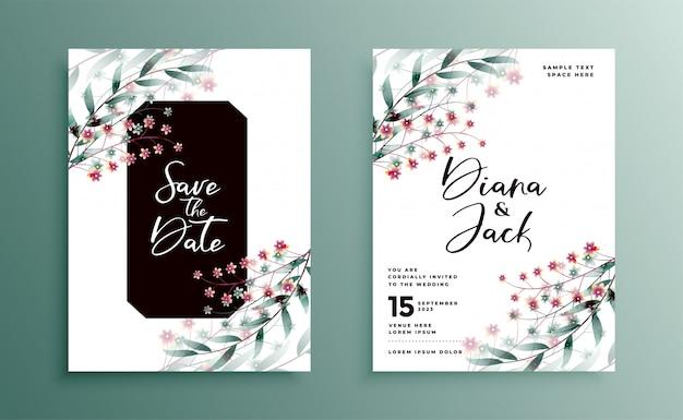 Invitación de boda con un hermoso diseño de decoración floral