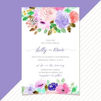 Invitación de boda con hermoso fondo floral