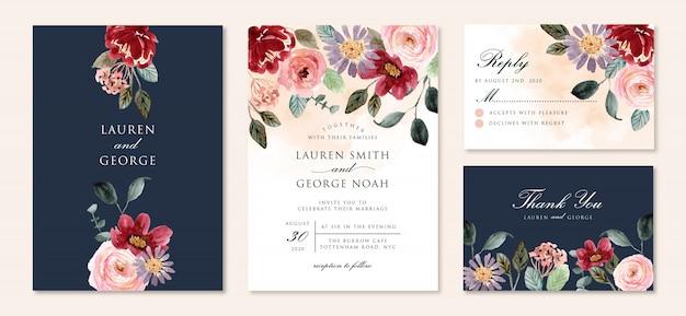 Invitación de boda con hermoso jardín floral acuarela