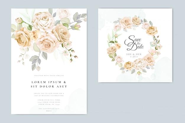 Invitación de boda hermoso marco floral