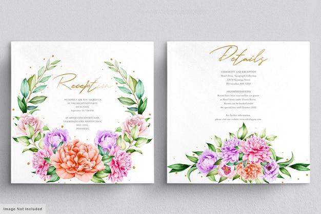Invitación de boda con hermosos ramos de flores y guirnalda de acuarela.