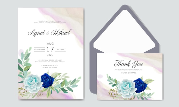 Invitación de boda con hermosos temas florales
