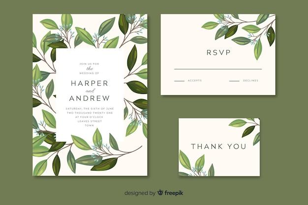 Invitación de boda con hojas dibujadas a mano