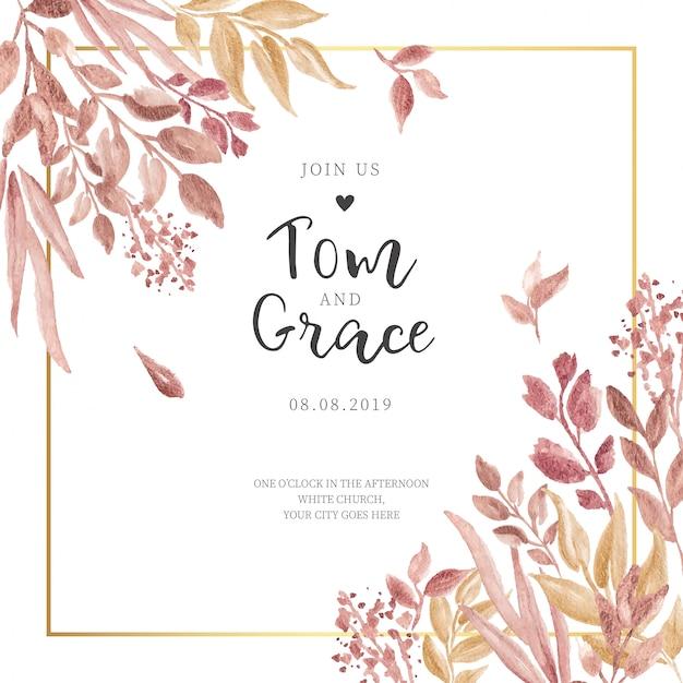 Invitación de boda con hojas doradas y marco