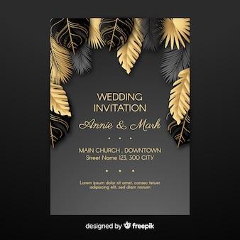 Invitación de boda de hojas doradas de palmera
