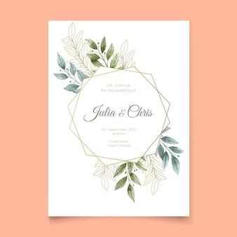 Invitación de boda con hojas y marco dorado.