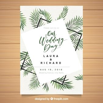 Invitación de boda con hojas de palmera en acuarela