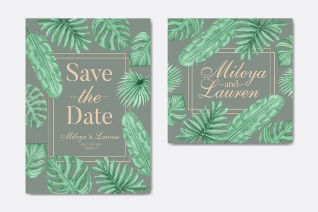 Invitación de boda de hojas tropicales con marco dorado