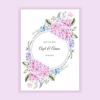 Invitación de boda con hortensia rosa azul acuarela