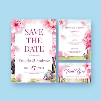 Invitación de boda con ilustración de acuarela de diseño de concepto de flor de cerezo