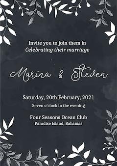 Invitación de boda, invitación floral gracias, diseño de tarjeta moderna rsvp en negro con línea de flores blancas decorativas