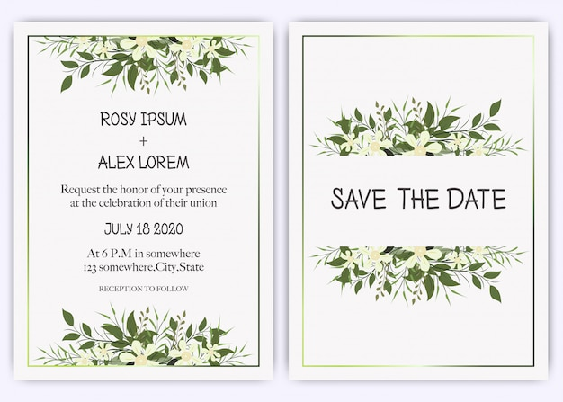 Invitación de boda, invitación, guardar el diseño de la tarjeta de fecha con elegante anémona de jardín de lavanda.