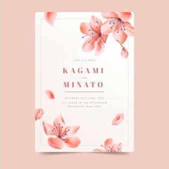 Invitación de boda japonesa con flores cayendo