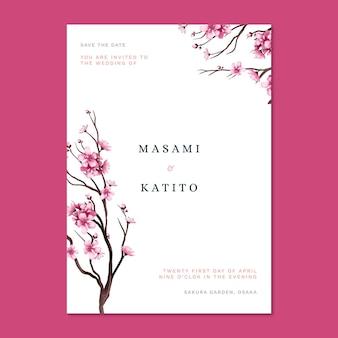 Invitación de boda japonesa con flores de cerezo