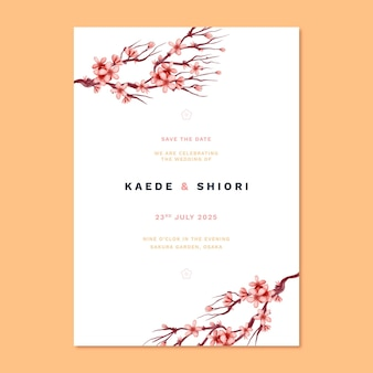 Invitación de boda japonesa y flores.