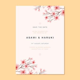 Invitación de boda japonesa con lindas flores