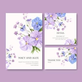 Invitación de boda del jardín de flores con la ilustración de la acuarela de vinca.