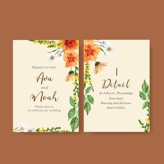 Invitación de boda jardín de flores con margarita, hibisco, gerbera acuarela ilustración.