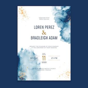 Invitación de boda de lavados de acuarela