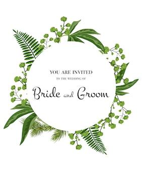 Invitación de boda. letras en círculo con vegetación sobre fondo blanco.