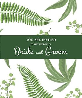 Invitación de boda. letras en marco verde en el patrón de vegetación. fiesta, evento, celebración
