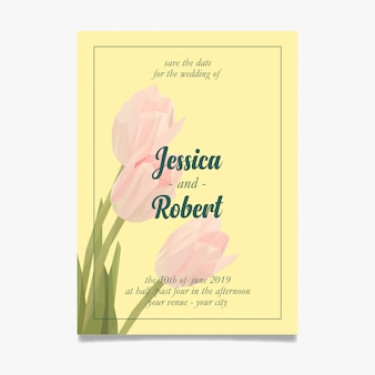 Invitación de boda limpia con lowpoly de tulipanes