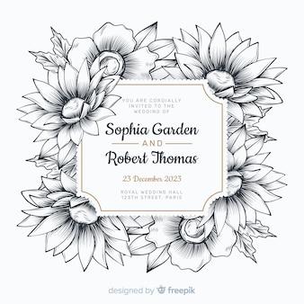 Invitación de boda linda con flores dibujadas a mano