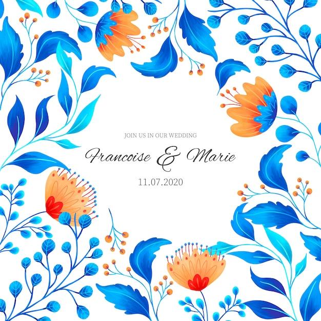 Invitación de boda linda con flores ornamentales