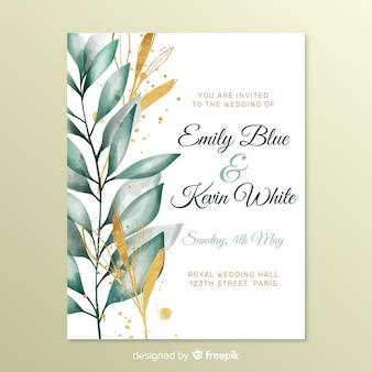 Invitación de boda linda con hojas