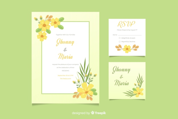Invitación de boda linda con plantilla de marco floral