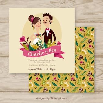 Invitación de boda con lindas parejas