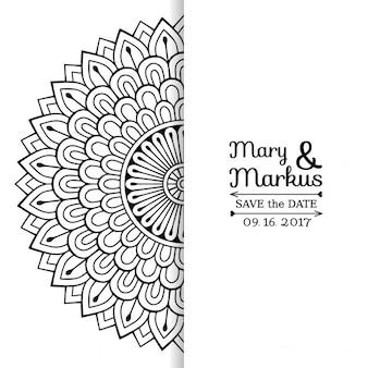 Invitación de boda con un lindo mandala floral blanco y negro
