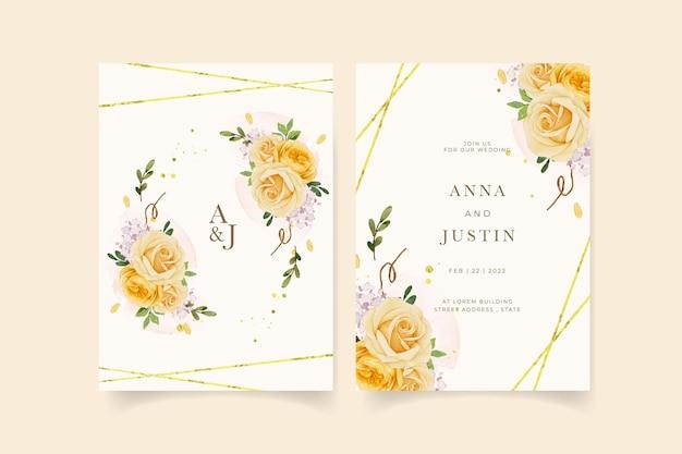 Invitación de boda con lirio rosa amarillo acuarela y flor de ranúnculo